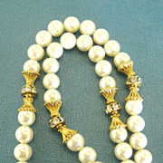 Lovely Vintage Faux Pearls with Gold Tone Enhanced Rhinestone Rondells