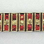 Art Deco Sterling Silver Faux Ruby Bracelet by Leach & Miller