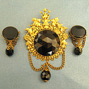 Ornate Vintage Black Glass Cabochon Dangle Brooch and Earrings- Demi Parure