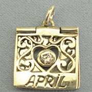 "Vintage Movable Sterling Silver ""April"" Hinged Birthday Charm"