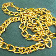 Chunky Bold Heavy Chain Gold Tone Chain Necklace- 34 Inches