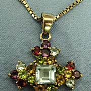 Sparkling Signed Sterling Gemstone Maltese Cross and Chain