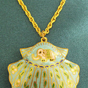 Lovely Shell Floral Cloisonne Pendant and Chain with Elephant