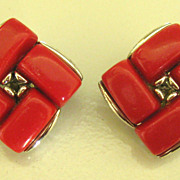 Signed Lisner Red Thermoset Silver Tone Earrings