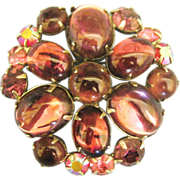 """Lovely Signed Vintage Weiss Glass Cabochon """"Jelly Belly"""" Brooch"""