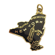 Vintage Enamel on Sterling New York State Charm