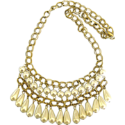 Vintage Faux Pearl Bib Dangle Gold Tone Necklace