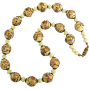 Vintage Italian Glass Wedding Cake Bead Necklace