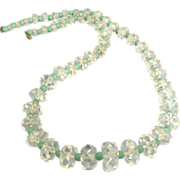 "Vintage Rock Crystal 20"" Graduated Faceted Bead Necklace"