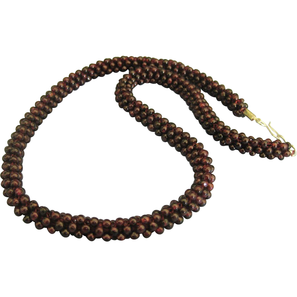 vintage garnet beaded cord necklace 24 inches