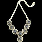 Vintage Sterling Lapis Lazuli Cabochon Necklace