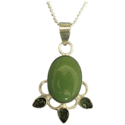 Lovely Vintage Sterling Cabochon and Peridot Pendant with Chain