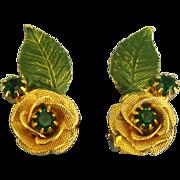 Signed Vintage Hobe Rhinestone & Enamel Earrings