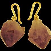 Natural Amethyst Crystal GF Pierced Earrings