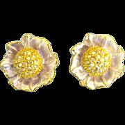 Glittering Signed Graziano Enamel AB Rhinestone Flower Earrings