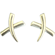 Sleek Modernist Sterling Pierced Earrings