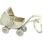 Vintage Sterling Mechanical Baby Carriage Charm