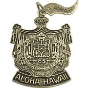 "Large Vintage Sterling Shield ""Aloha Hawaii"" Pendant or Charm"