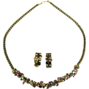 Vintage Hematite and Amethyst Bead Gemstone Chunky Demi Parure