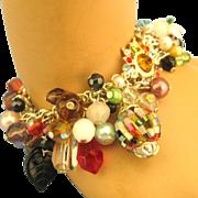 Opulent Vintage Glass Bead & Rhinestone Bracelet
