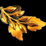 Vintage Signed Renoir Laurel Leaf Copper Brooch