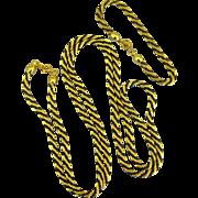 Vintage Trifari Black and Gold Tone Twisted Rope Demi Parure
