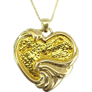 """Lovely """"Footprints in the Sand"""" Gorham Sterling Pendant & Chain"""