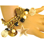 Chunky Gold Tone, Faux Pearls & Lucite Charm Bracelet