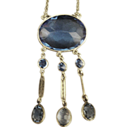 Beautiful Vintage Cobalt Blue Czech Glass Sterling Dangle Necklace