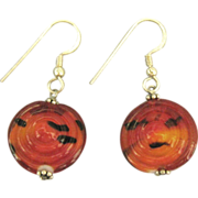 Vintage Red Art Glass Sterling Pierced Earrings