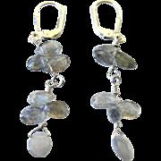 Lovely Natural Opal Beads Sterling Silver Pierced Lever Back Earrings