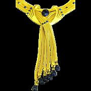 Exquisite Signed Vintage Gold Plated & Cobalt Blue Necklace with Opulent Dangle