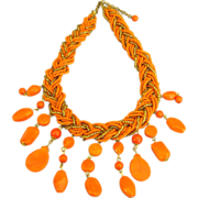 Vintage Braided Bead Orange Necklace with Glass Dangles