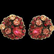 Beautiful Vintage Raspberry Pink Rhinestone Earrings- West Germany
