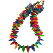 Colorful Vintage Lucite Disk Bead Necklace- Cha-Cha!