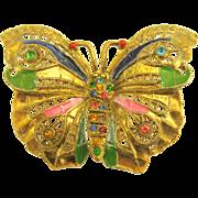 """Beautiful Early Mark """"Little Nemo"""" Enamel and Paste Butterfly Brooch"""