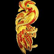 "Glittering Red Enamel and Rhinestone ""Fire Bird"" Brooch"