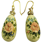 Vintage Floral Porcelain Drops Pierced Earrings