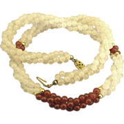 Lovely Twisted 3 Strand Carnelian and White Quartz Bead Necklace