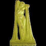 SOLD Art Nouveau Painted Cast Metal Female Nude Single Book End or Door Stop