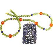 Stunning Large Carved Lapis Pendant Necklace with Carnelian and Jade Beads
