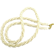 Classic Twisted triple Strand Faux Pearl Signed Marvella Necklace- 22 Inches