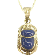Vintage Lapis Sterling Scarab Pendant and Chain