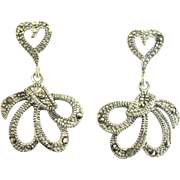Feminine Sterling Marcasite Hearts and Dangles Pierced Earrings