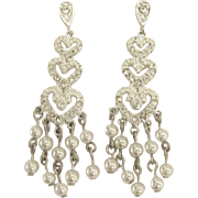 Sterling Graduated Hearts with Faux Pearl Dangle Pierced Earrings