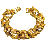 Fabulous 1960's AB Faux Pearl Cluster Gold Tone Bracelet with Leaves