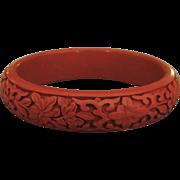 Deeply Carved Vintage Cinnabar Bangle Bracelet