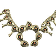 Heavy Sterling Coral Squash Blossom Navajo Necklace- 8 ounces (224 Grams)