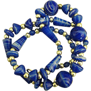 Swirled Vintage Art Glass Bead Necklace