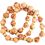Romantic Vintage Hand Painted Pink Roses Bead Necklace- 28 Inches